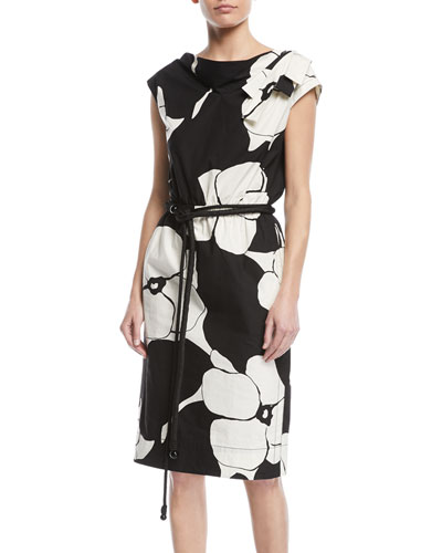 Cap-Sleeve Floral-Print Belted Cotton Dress w/ Shoulder Bow