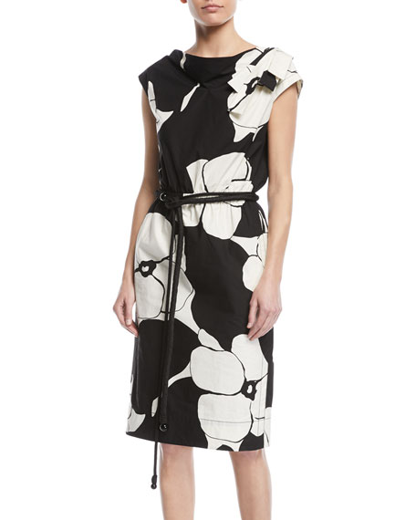 Marc Jacobs Cap-Sleeve Floral-Print Belted Cotton Dress w/