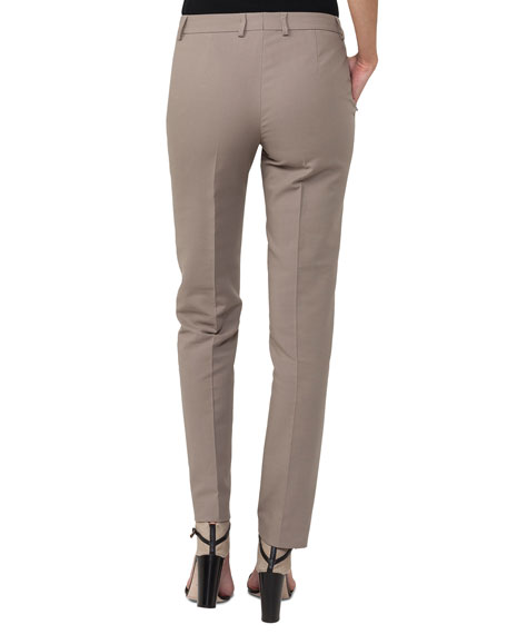 Slim Straight-Leg Double-Face Cotton-Silk Pants