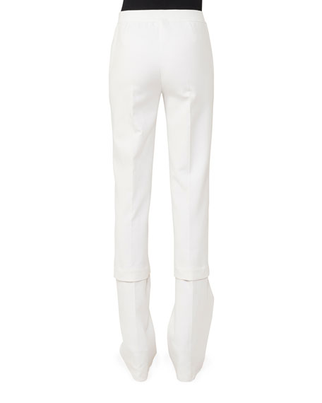 Carleen Mid-Rise Straight-Leg Cotton-Silk Pants