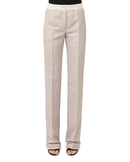 Carl Straight-Leg Pique Pants with Elastic Waistband