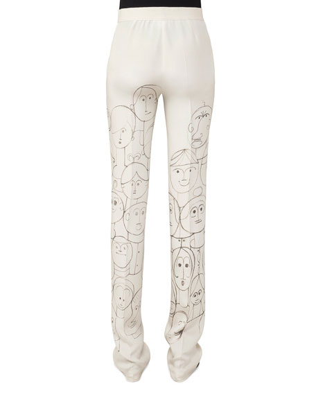 Carl High-Rise Straight-Leg Silk Pants with Faces-Print
