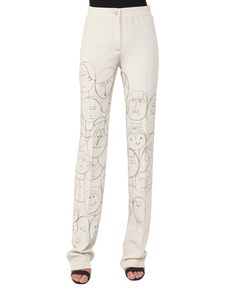 Akris Carl High-Rise Straight-Leg Silk Pants with Faces-Print