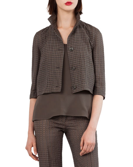 Button-Front Ajoure Silk Cotton Jacket with Detachable Hem