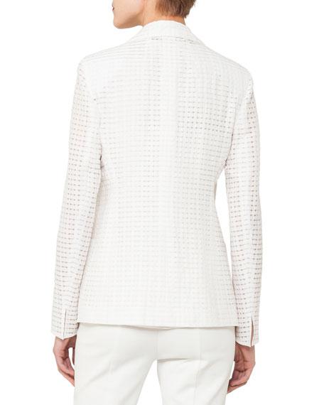 Cotton-Silk Square-Ajouré Single-Breasted Blazer