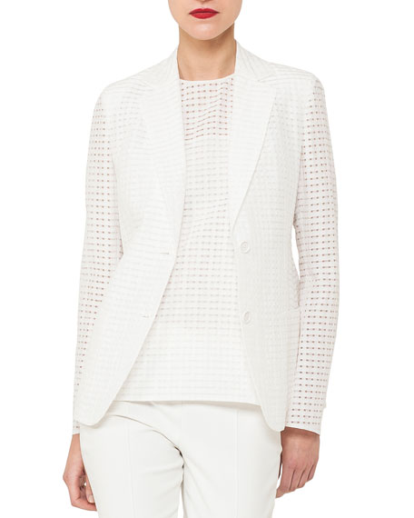 Akris Cotton-Silk Square-Ajouré Single-Breasted Blazer