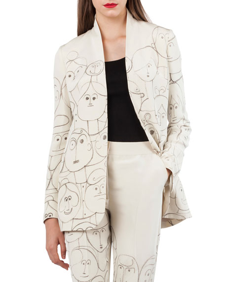 Oliana Snap-Front Silk Crepe Jacket with Faces-Print