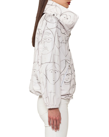 Zip-Front Short Parka Jacket with Faces-Print