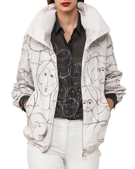 Akris Zip-Front Short Parka Jacket with Faces-Print