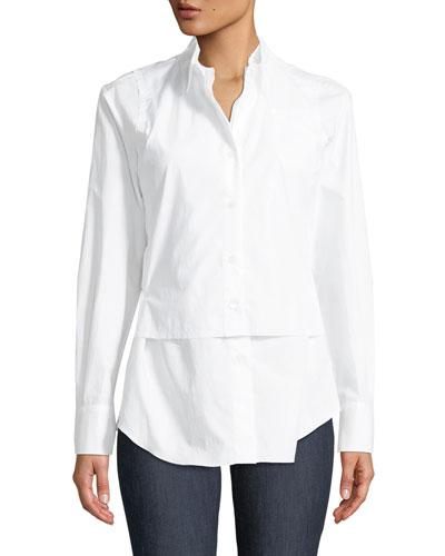Long-Sleeve Button-Front Cotton Poplin Blouse