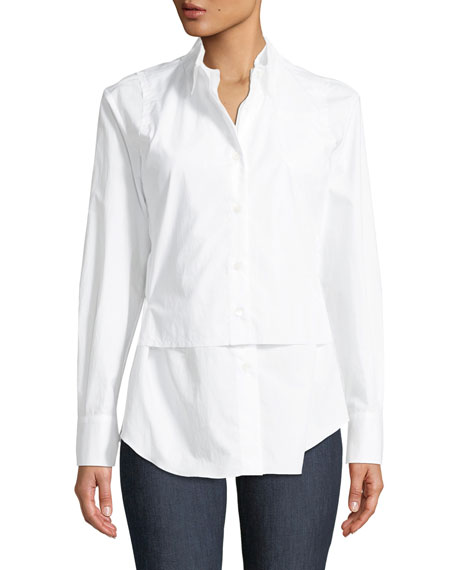 Long-Sleeve Button-Front Cotton Poplin Blouse