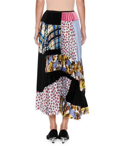 Plisse Patchwork-Print Silk Ankle-Length Skirt