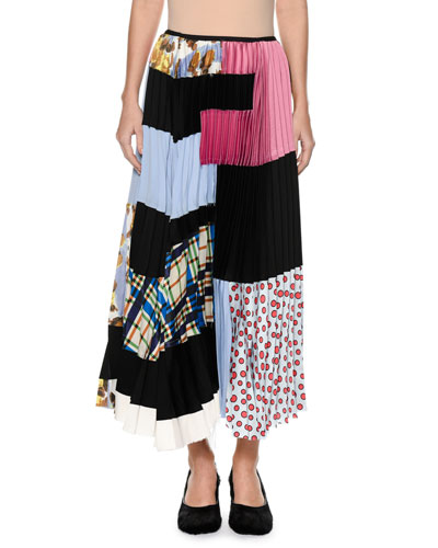 Plisse Patchwork-Print Silk Ankle-Length Skirt