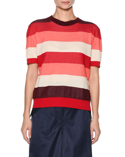 Crewneck Short-Sleeve Striped Cotton Knit Top