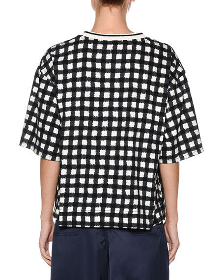 Short-Sleeve Cotton Jersey Check Oversized Shirt