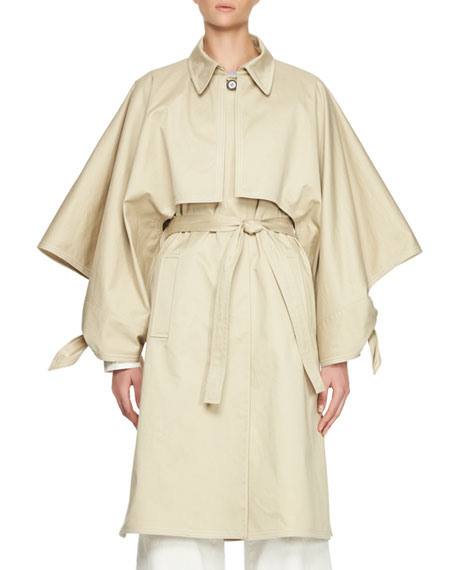 Cotton Gabardine Button-Front Trench Coat