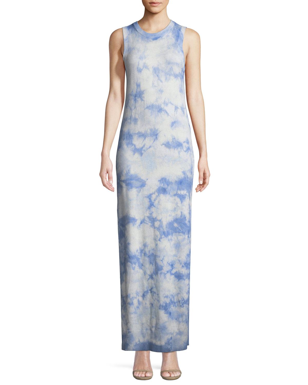 Sleeveless Crewneck Tie Dye Maxi Dress