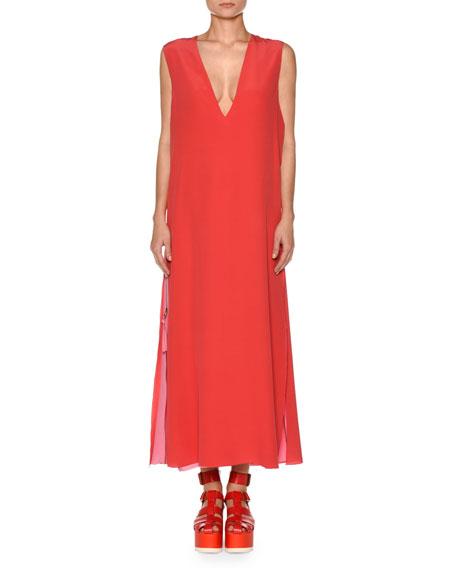 Sleeveless Deep V-Neck Side Slit A-Line Dress with Side Zips