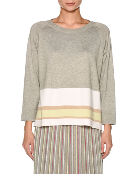 Agnona Crewneck Long-Sleeve Boxy Knit Top with Stripe