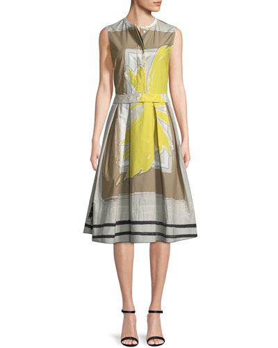 Sleeveless Graphic-Print Dress with Full Skirt