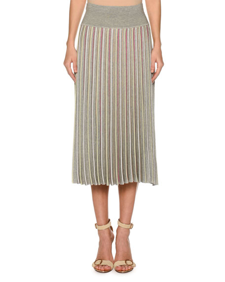 High-Waist Accordion Pleated Stripe Pull-On Skirt