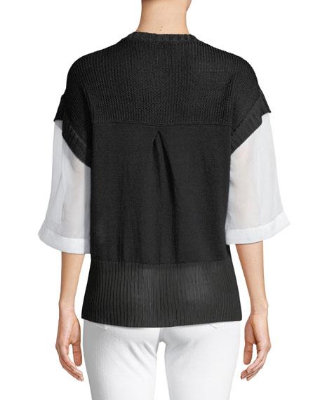 Organza-Sleeve Linen-Blend Blouse