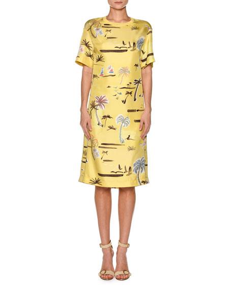 Crewneck Short-Sleeve Palm-Tree Print Knit Dress