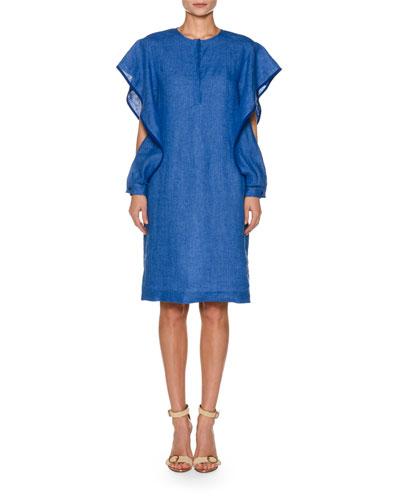 Ruffled Split-Sleeve Linen Skimmer Dress