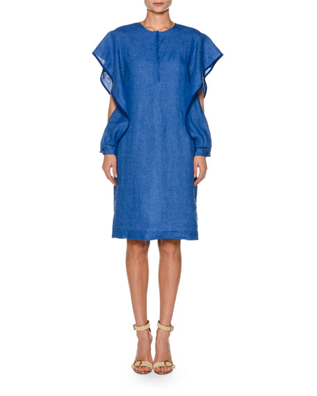 Ruffled Split-Sleeve Linen Skimmer Dress