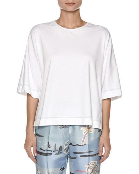 Agnona Crewneck 3/4-Sleeve Cotton Flyaway Top with Contrast