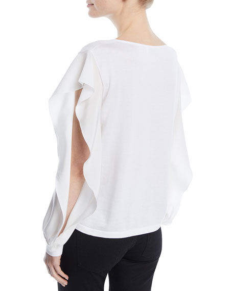 Round-Neck Ruffled Long-Sleeve Silk-Cotton Knit Top