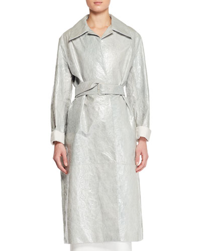Rundi Spread-Collar Belted  Leather Coat
