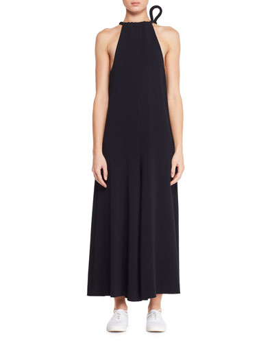 Japron Sleeveless Halter Wide-Leg Stretch-Cady Jumpsuit