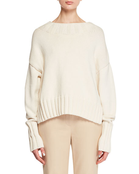 THE ROW Gracie High-Neck Long-Sleeve Knit Sweater and