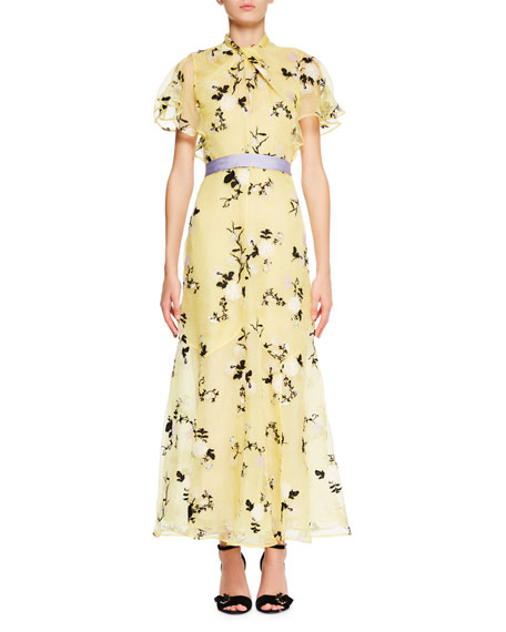 Celestina Short-Sleeve Floral-Embroidered Long Dress with Twist Detail & Belt