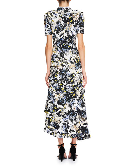 Twist-Neck Floral-Print Silk Faille Long Dress with Asymmetric Frills