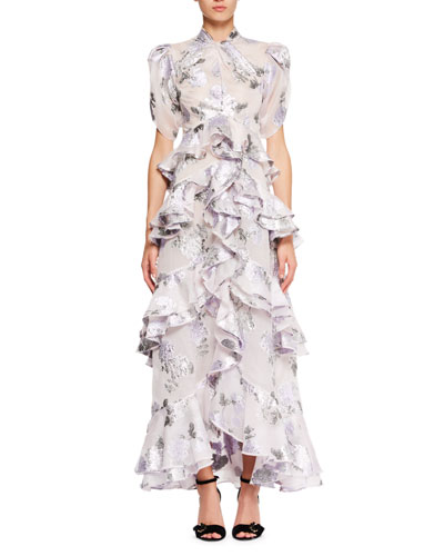 Twist-Neck Floral-Jacquard Long Dress with Tiered Frills