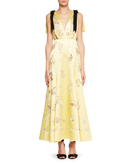 Sleeveless V-Neck Bow Detail Silk Dress with Beaded Embroidered