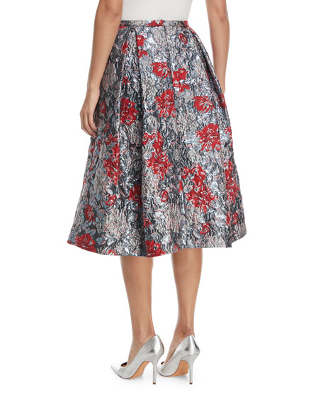 Ina Metallic Floral-Jacquard Midi Cocktail Skirt with Tucks