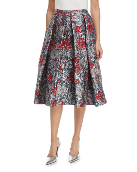 Erdem Ina Metallic Floral-Jacquard Midi Cocktail Skirt with