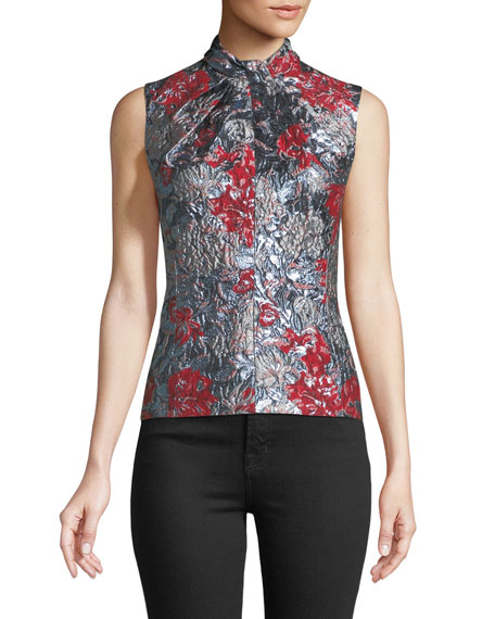 Fineena Twist-Front Jacquard Top