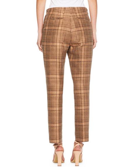 Paola Plaid Slim-Leg Pants