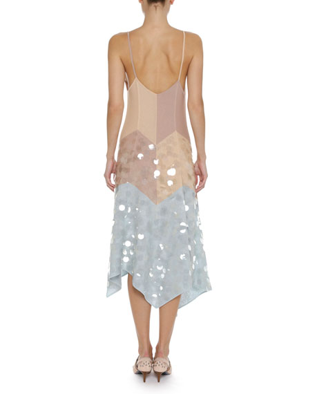 Plunging V-Neck A-Line Camisole Dress with Large Paillettes