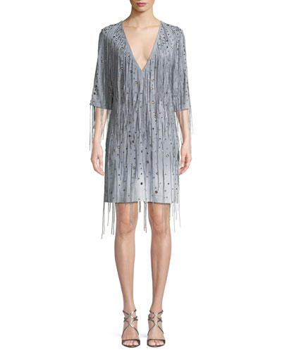 Deep V-Neck Fringe Metal Eyelets Dégradé Suede Dress