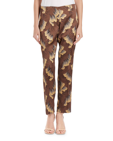 Dries Van Noten Paola Ginko-Print Slim-Leg Pants
