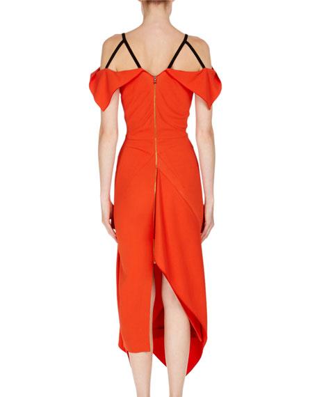 Cotness Asymmetric-Drape V-Neck Dress