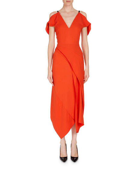 Cold-Shoulder Asymmetric Stretch-Crepe Midi Dress in Bright Orange from LastCall.com