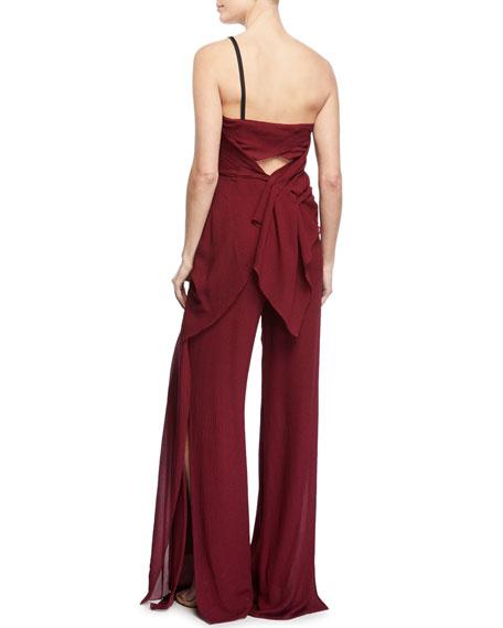 Nettleton One-Shoulder Draped Silk Jumpsuit with Cascade Side Panel
