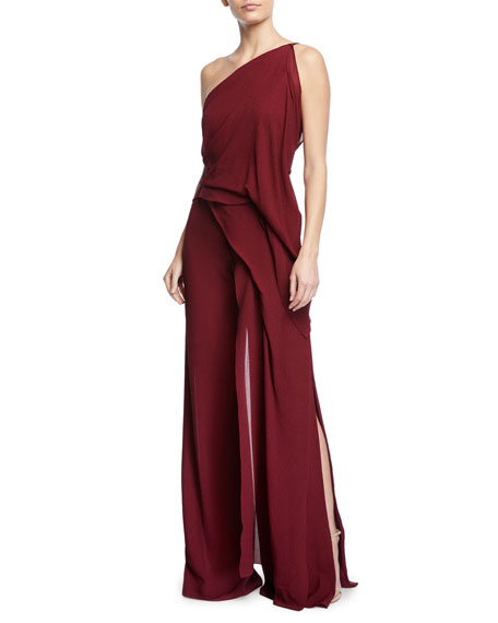 Nettleton One-Shoulder Draped Silk Jumpsuit with Cascade Side Panel
