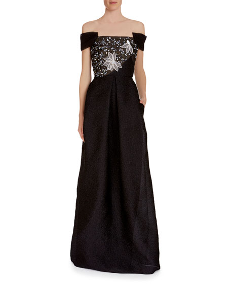 Embsay Off-the-Shoulder Embroidered-Bodice Jacquard Gown